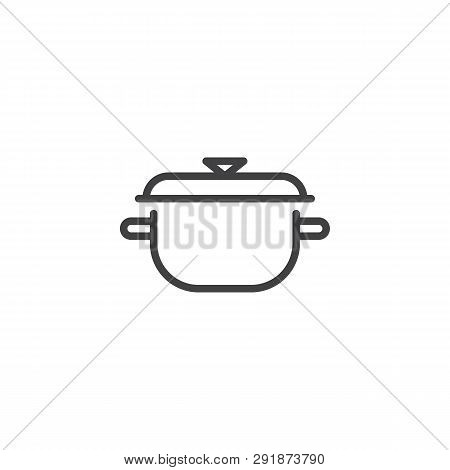 Cooking Pot Cover Line Icon. Linear Style Sign For Mobile Concept And Web Design. Saucepan Outline V