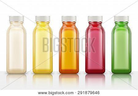 Plastic Juice Bottles Isolated On White Background. Vector Illustration
