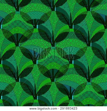 Seamless Background With Abstract Green Patterned Forest Trees. Tile Pattern For Your Design. Eps10,