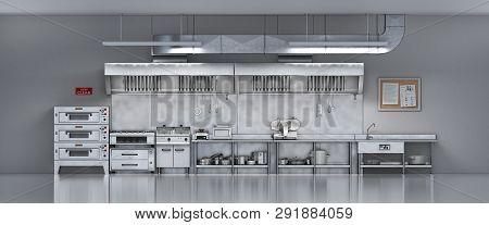 Industrial  Metallic Kitchen. Restaurant Kitchen. 3d Illustration