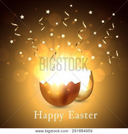 Broken Golden Easter Egg With Light And Confetti On A Gold Background. Bokeh Lights And Glare From A
