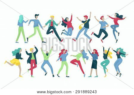Jumping Character In Various Poses. Group Of Young Joyful Laughing People Jumping With Raised Hands.