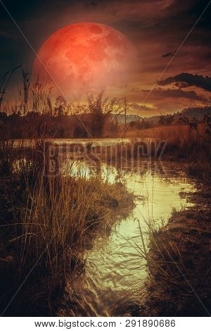 Landscape At Night Time In The Forest Lake With Fogy And Darkness Sky Super Blood Moon In The Backgr