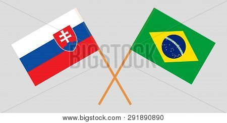 Slovakia And Brazil. The Slovakian And Brazilian Flags. Official Colors. Correct Proportion. Vector