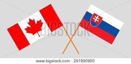 Slovakia And Canada. The Slovakian And Canadian Flags. Official Colors. Correct Proportion. Vector I