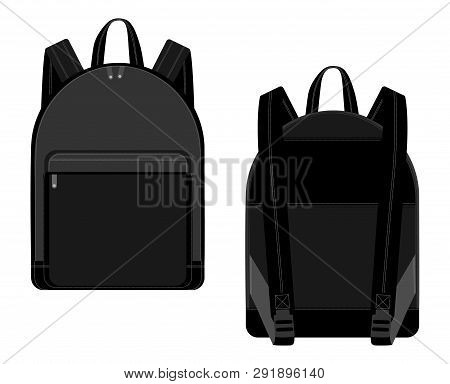 Black backpack vector illustration technical drawing. Backpacks for schoolchildren poster