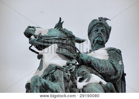Monument of famous Ukranian Hethman Bogdan Khmelnitsky at winter in Kiev, Malorussia (Ukraine) poster