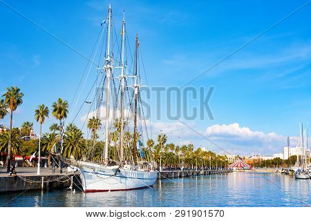 Barcelona, Spain - January 19, 2019: Santa Eulalia, Three Masted Schooner, Port Vell. Launched In 19