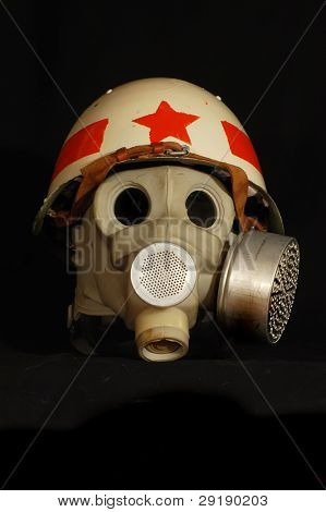 Soviet battle helmet. (M40)(1940) Painted for Military Police & gas mask
