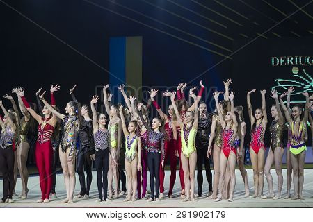 Kyiv, Ukraine - March 17, 2019:  Team Of Ukraine Performs At Gala Concert Of Deriugina Cup Grand Pri
