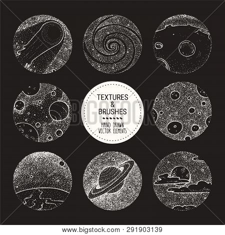 Hand Drawn Stippling Illustrations Related To Cosmos, Space Exploration, Astronomy. Design Elements