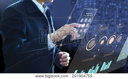 Businessman Entering Passcode On Modern Virtual Touch Screen As An Access To Investment Risk Managem