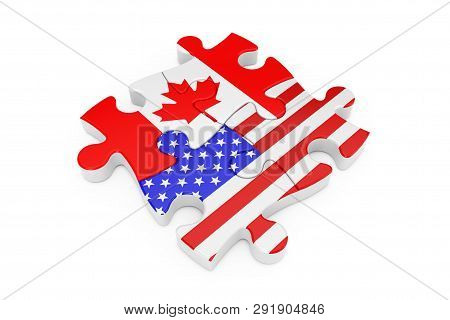 Usa And Canada Cooperation Puzzle As Flags On A White Background. 3d Rendering