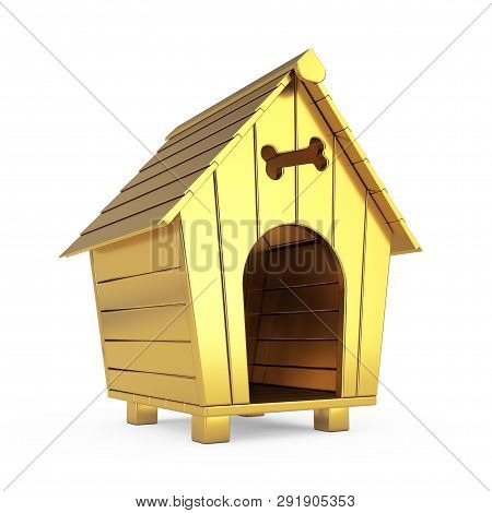 Golden Cartoon Dog House On A White Background. 3d Rendering