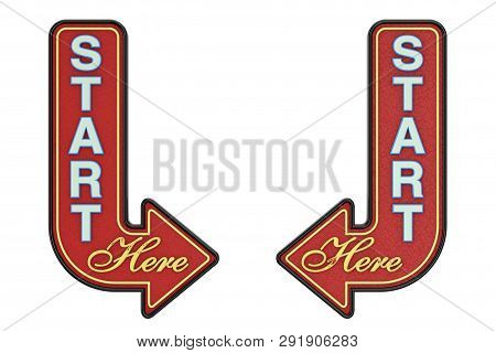 Vintage Rusty Metal Start Here Arrow Sign On A White Background. 3d Rendering