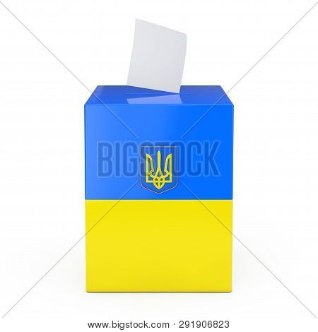 Ukraine Vote Concept. Vote Paper Falls In To Vote Box With Ukraine Flag And Coat Of Arms On A White