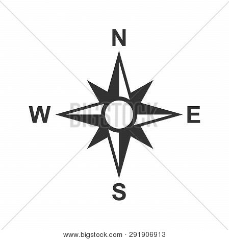 Global Navigation Icon In Flat Style. Compass Gps Vector Illustration On White Isolated Background.