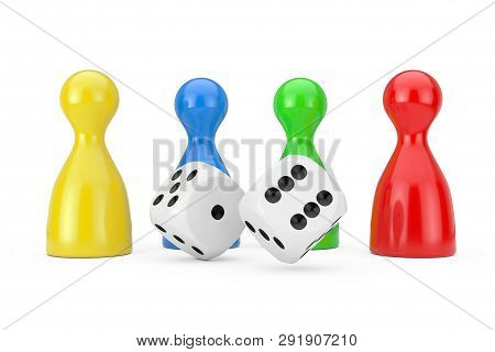 Set Of Multicolour Board Game Pawn Figures Mockup With White Game Dice Cubes On A White Background.