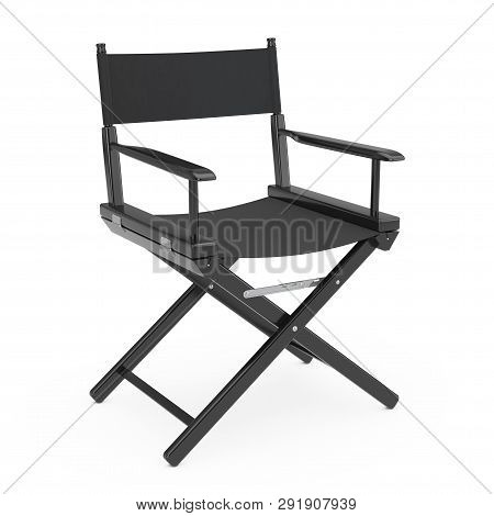 Film Industry Concept. Black Wooden Director Chair On A White Background 3d Rendering
