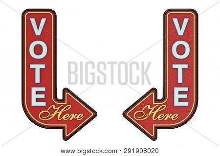 Vintage Rusty Metal Vote Here Arrow Sign On A White Background. 3d Rendering