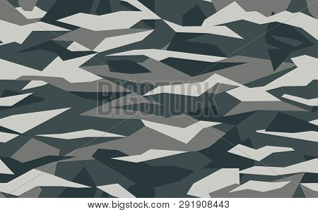 Geometric Camouflage Pattern With Abstract Shape . Seamless Camo Texure On Black And White Colors. C