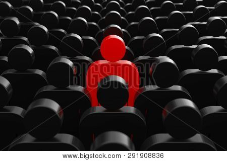 Leader Concept. One Red Man Person In Crowd Of Plain People Extreme Closeup. 3d Rendering