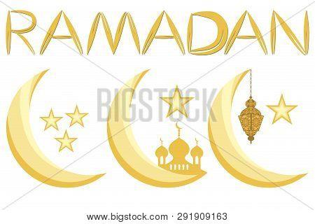 Illustration On Theme Big Set Different Types Moon, Star To Celebration Holiday Ramadan. Moon Patter