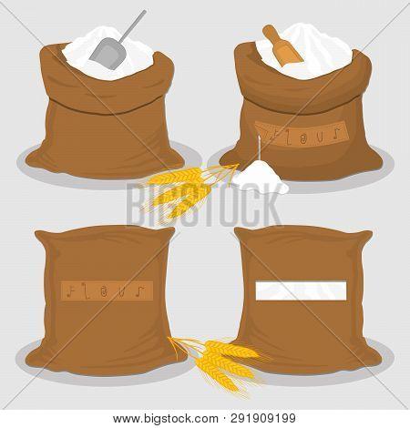 Illustration On Theme Big Set Different Types Sacks Filled Product Wheat Flour. Wheat Flour Pattern