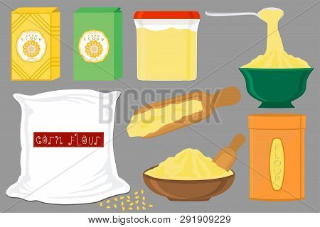 Illustration On Theme Big Set Different Types Dishware Filled Corn Flour. Corn Flour Pattern Consist