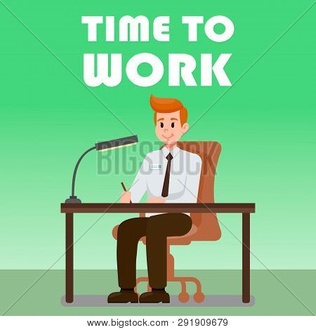 Office Man Sitting At Desk Flat Vector Illustration. Hr Manager Waiting For Candidate. Employer With