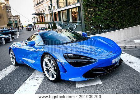 Monte-carlo, Monaco - March 12, 2019: British Sportscar Mclaren 720s In The City Street.