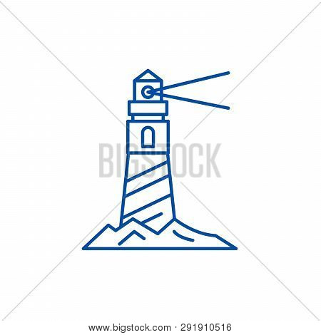 Lighthouse On The Shore Line Icon Concept. Lighthouse On The Shore Flat  Vector Symbol, Sign, Outlin