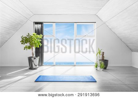 Indoor Yoga Scene With A Blue Mat In A Bright Room With An Ocean View And A Couple Of Green Plants