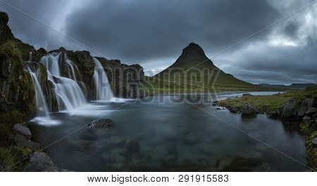 Fantastic evening with Kirkjufell volcano the coast of Snaefellsnes peninsula. Picturesque and gorgeous morning scene. Location famous place Kirkjufellsfoss waterfall, Iceland, Europe. Beauty world poster