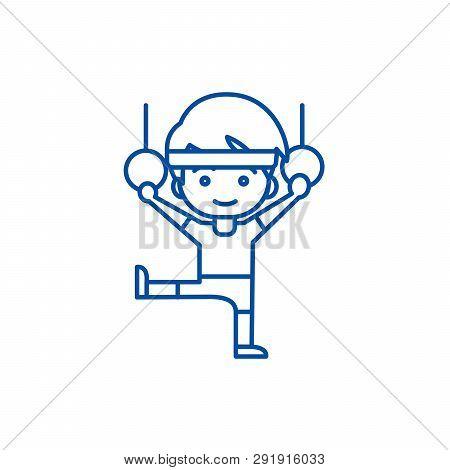 Man Aerobics, Workout, Gymnastics Rings Line Icon Concept. Man Aerobics, Workout, Gymnastics Rings F