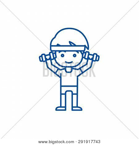 Man Workout With Weights, Hands Up Line Icon Concept. Man Workout With Weights, Hands Up Flat  Vecto