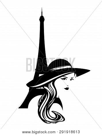 Elegant Woman Wearing Wide Brimmed Hat With Eiffel Tower Silhouette - Fashion Model In Paris Black A