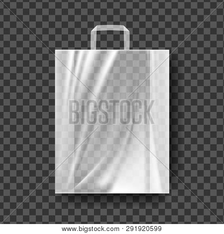 Plastic Shopping Bag Vector. Transparent Shopping Bag With Handle Wrap. Empty Product Polyethylene M