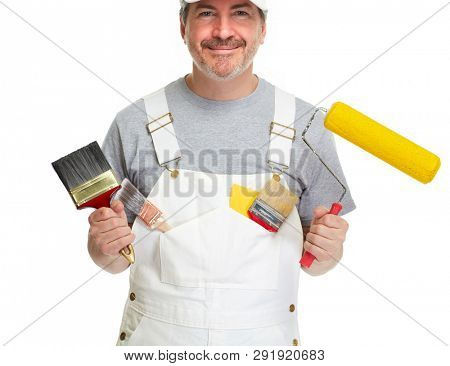 Painter man on white background.