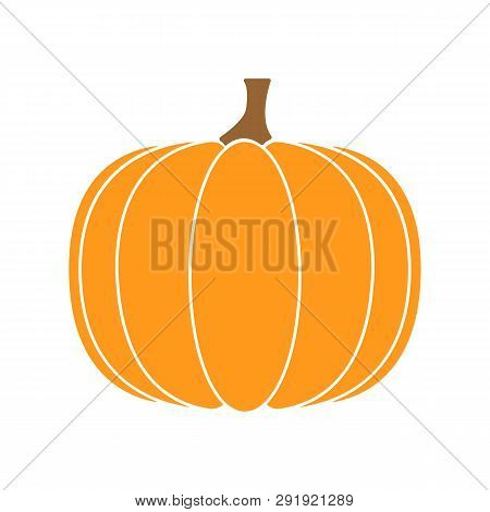 Orange Pumpkin - Vector Icon. Halloween Pumpkin Isolated On White Background. Thanksgiving Symbol. F