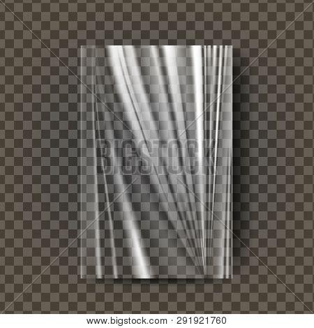 Plastic Polyethylene Vector. Transparent Cellophane Glossy Wrap. Empty Sack Product Canvas Mock Up T
