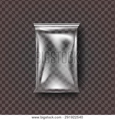 Plastic Food Bag Vector. Transparent Pillow Food Bag Wrap. Empty Product Polyethylene Mock Up Templa