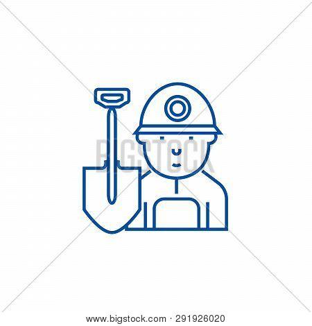 Miner, Worker Line Icon Concept. Miner, Worker Flat  Vector Symbol, Sign, Outline Illustration.