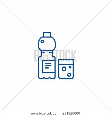 Mineral Water With Glass Line Icon Concept. Mineral Water With Glass Flat  Vector Symbol, Sign, Outl