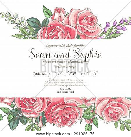 f90fc6c73 Vector Delicate Invitation With Roses And Bluebells For Wedding