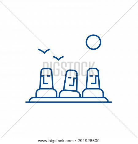 Monolith, Megalith, Easter Land Line Icon Concept. Monolith, Megalith, Easter Land Flat  Vector Symb