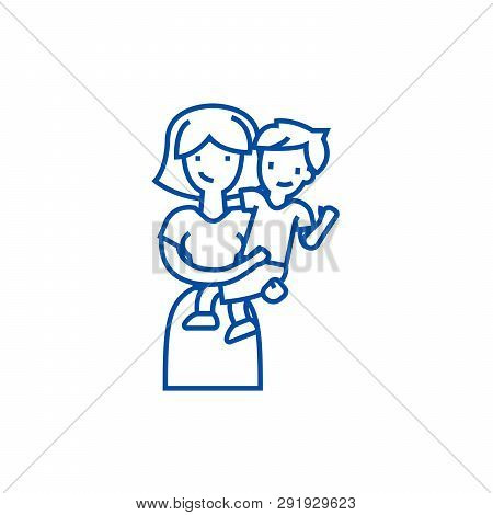 Mother With Son, Mum With Kid Line Icon Concept. Mother With Son, Mum With Kid Flat  Vector Symbol,