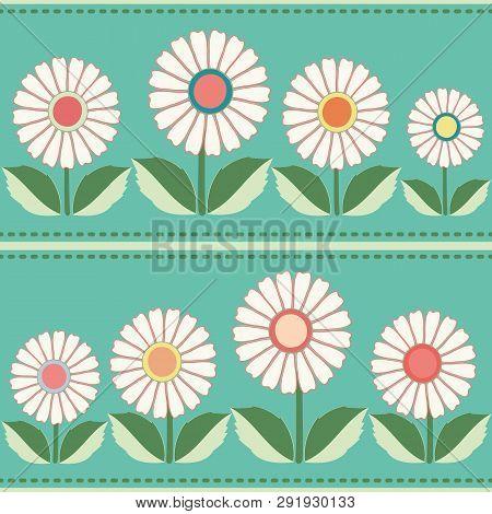 White, Orange, Yellow Floral Folk Pattern. Seamless Vector Pattern With Horizontal Striped Stitch On