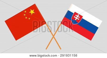Slovakia And China. The Slovakian And Chinese Flags. Official Colors. Correct Proportion. Vector Ill