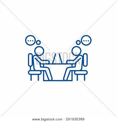 Office Coworkers Line Icon Concept. Office Coworkers Flat  Vector Symbol, Sign, Outline Illustration